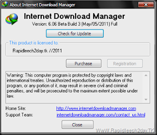 Picture showing Registered IDM 6.06 Beta Build 3