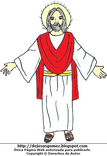 Dibujo de Jesús a color para niños. Imagen de Jesús hecho por Jesus Gómez