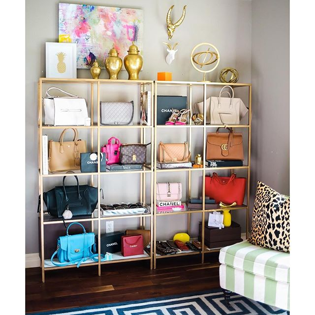 ikea shelves painted gold, ikea hacks, how to store handbags and shoes, pinterest office inspiration, pinterest home decor inspiration, little design co leopard print pillow, one kings lane decor, celine ring bag, chanel boy bag, tory burch york tote, celine phantom black, prada tan large double pocket, valentino lock shoulder bag, emily gemma office, gold shelves for organizing designer handbags, closet with designer handbags,