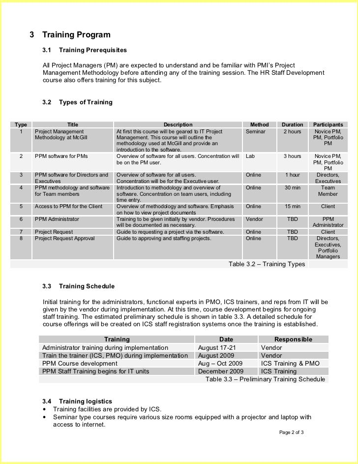 Employee Training Plan Template  Resume Business Template