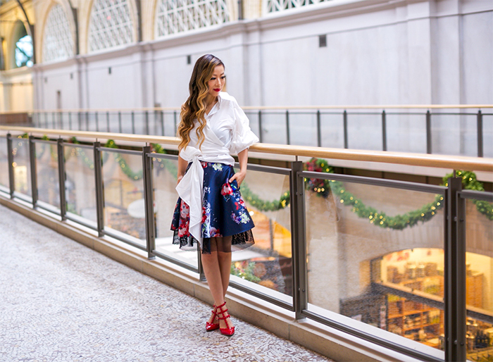 ONE by STYLEKEEPERS One Shoulder Poplin Top, sachin and babi floral skirt, valentino rockstud, baublebar Elizabella Drop Earrings, san francisco ferry building, san francisco fashion blog, san francisco street style, holiday party outfit, holiday date night