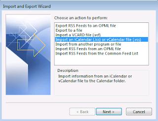 Importeer een iCalender (.ics) of vCalendar bestand (.vcs)