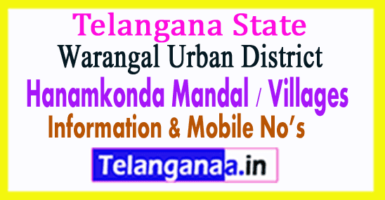 Hanamkonda Mandal Villages in Warangal Urban District Telangana