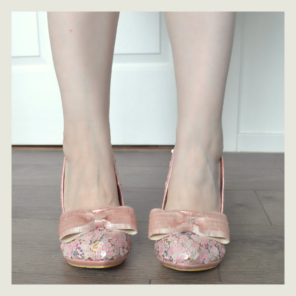 wearing irregular choice pink savan bow shoes