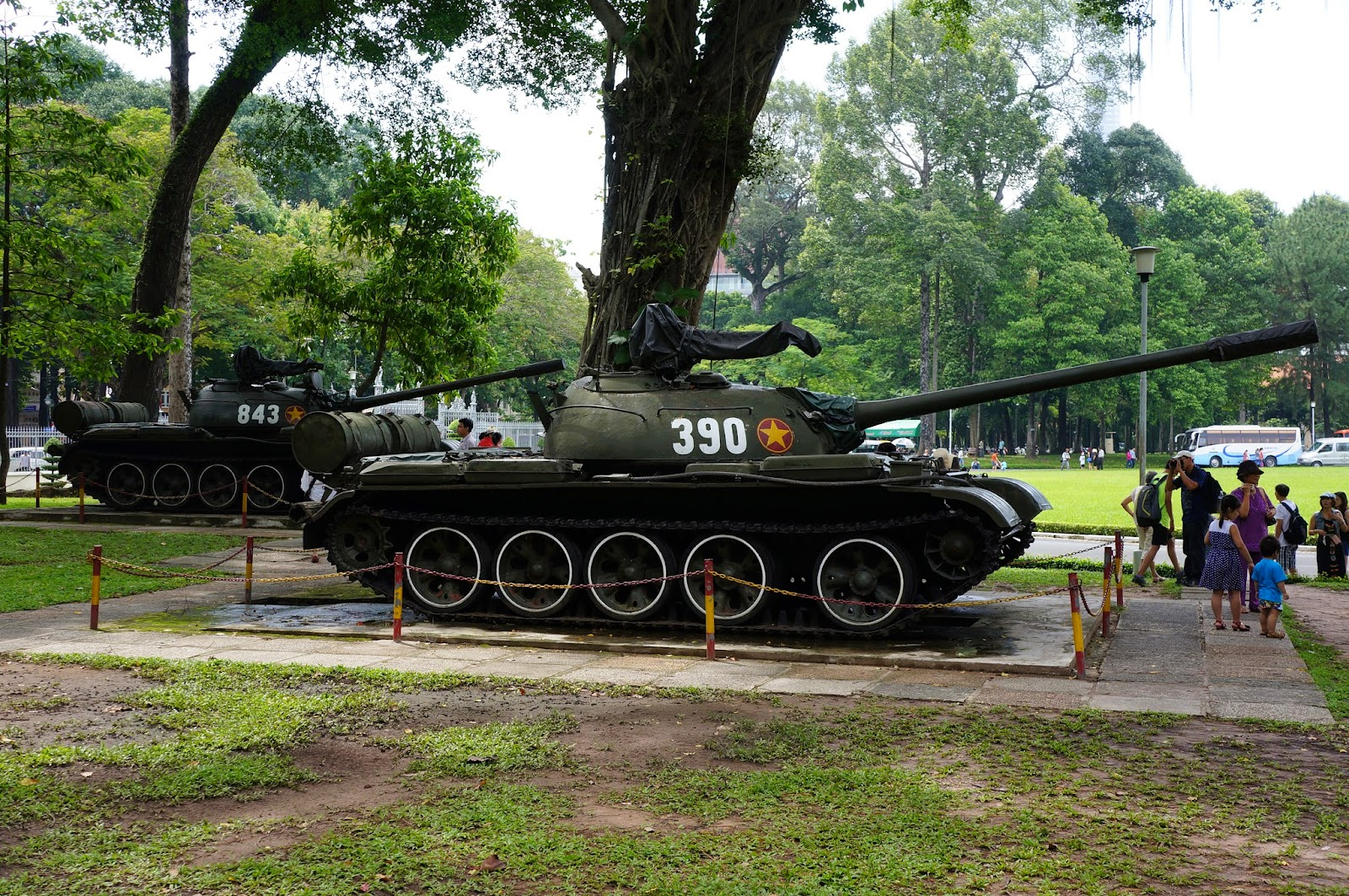 Tanks on display at Independence Palace