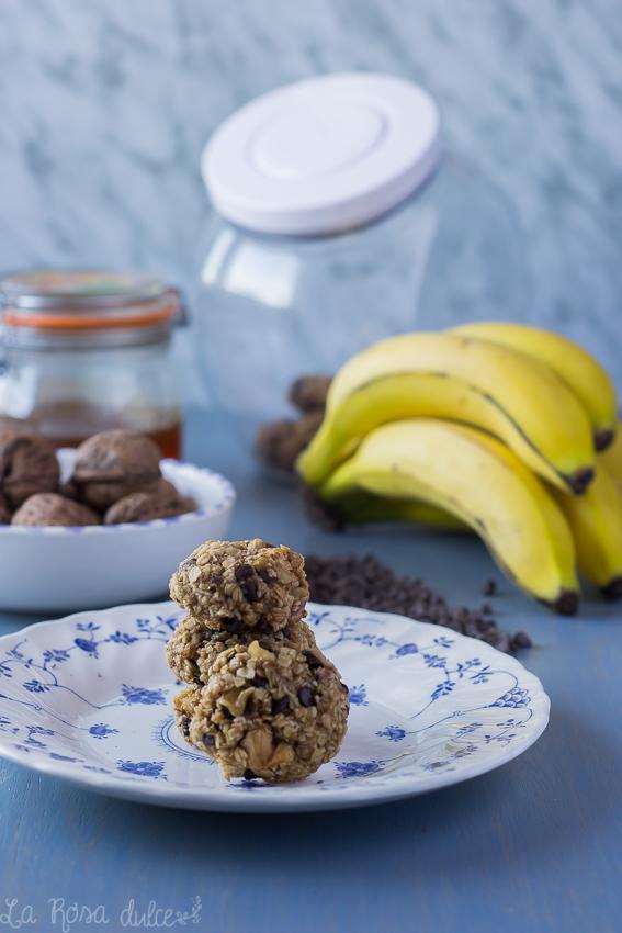 Galletas de plátano y avena con trocitos de chocolate y nuez #fit #sinhuevo #sinlacteos #singluten #energéticas