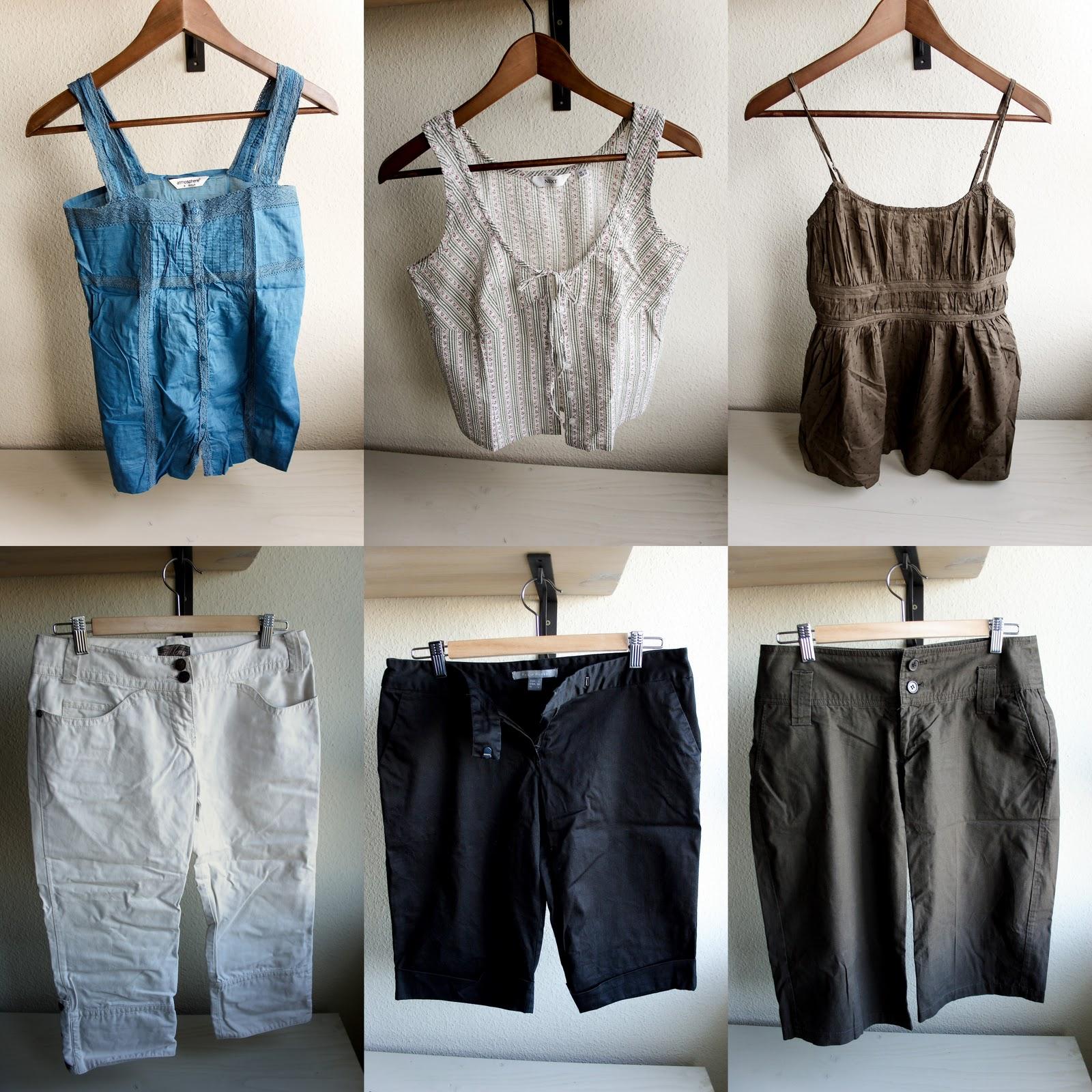 cff4bcf203 6 db-os nyári ruhacsomag - 3 db nadrág és 3 db ujjatlan felső. Tartalma:  MANGO fehér farmer anyagú halásznadrág (38) PHILIP RUSSEL fekete  halásznadrág (L)