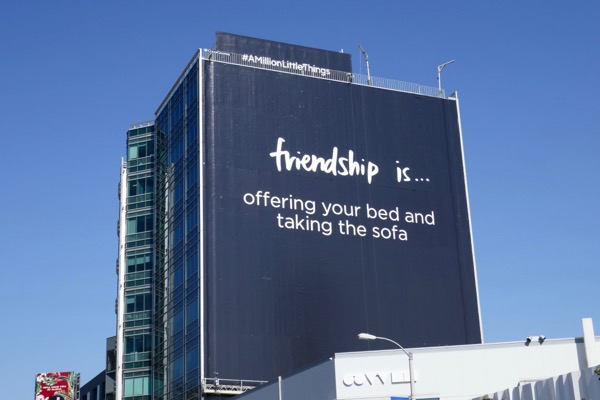 Friendship bed sofa Million Little Things billboard