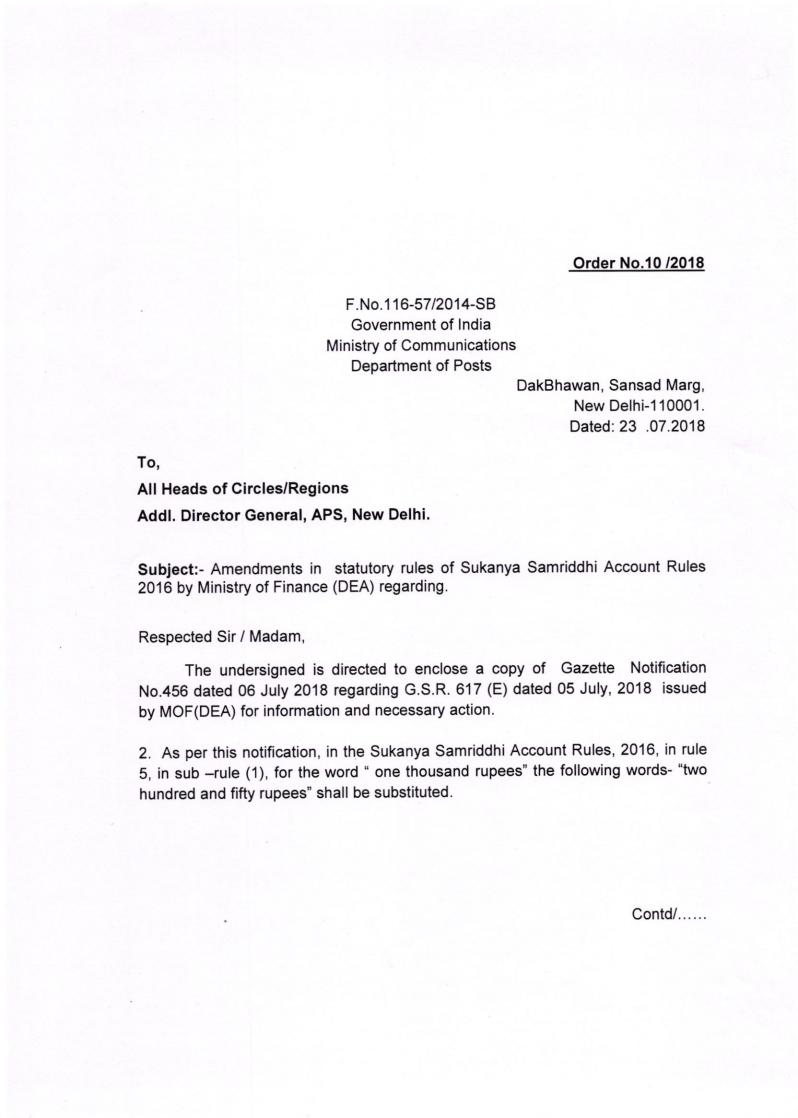 Amendments in statutory rules of Sukanya Samriddhi Account Rules 2016 by Ministry of Finance (DEA)