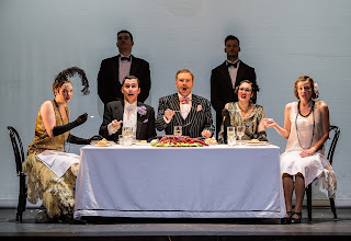 Rosalind Coad (Elisetta), Matthew Durkan (Servant), Bradley Travis (Count Robinson), Frazer B Scott (Geronimo), Nick Dwyer (Servant), Heather Lowe (Fidalma) and Alice Rose Privett (Carolina) in BYO's The Secret Marriage [Credit: Clive Barda / ArenaPAL]