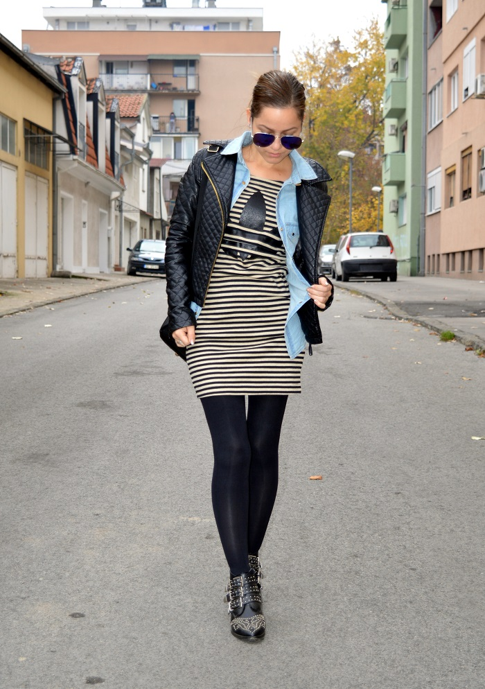 outfit, adidas dress, chambray shirt, black faux leather jacket, black ankle studded boots, black opaque tights