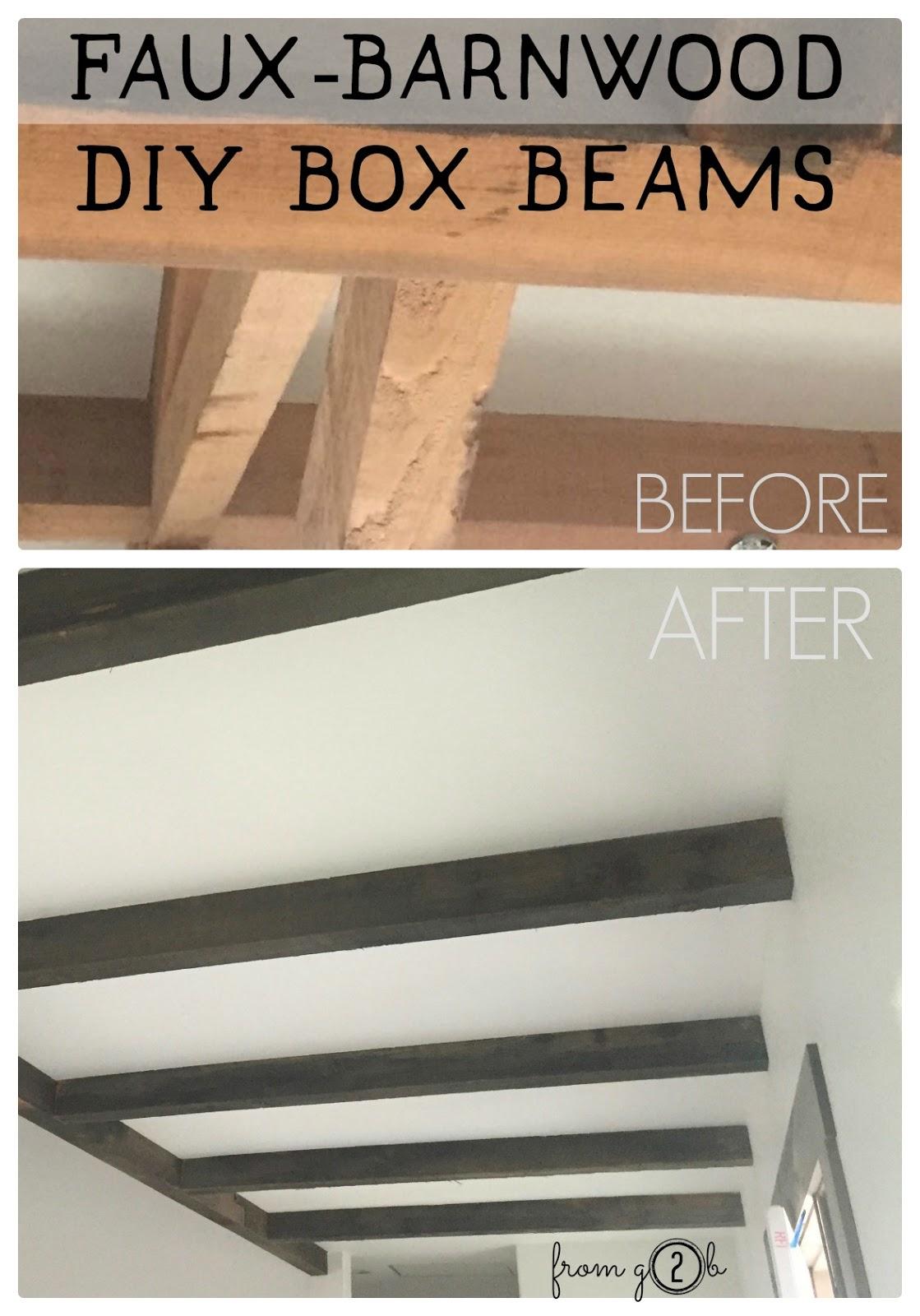 from Gardners 2 Bergers: Faux-Barnwood DIY Box Beams