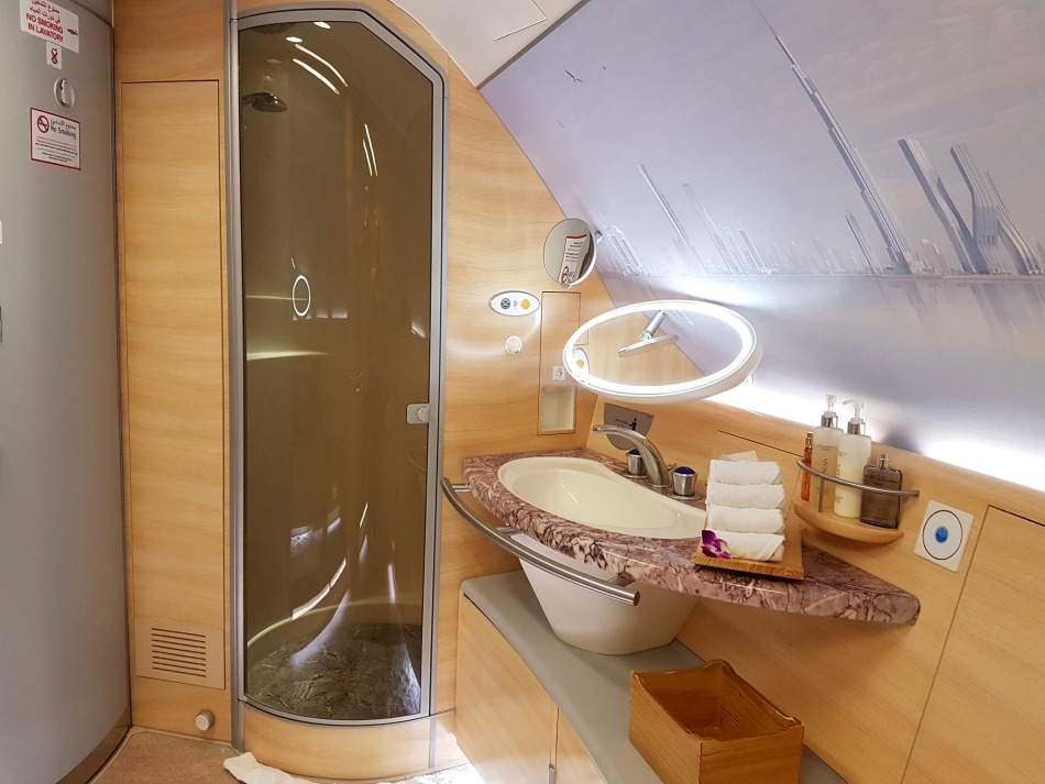 The shower in First Class on Emirates A380 plane