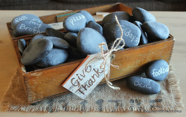 Give thanks chalkboard rocks Beyond the Picket Fence http://bec4-beyondthepicketfence.blogspot.com/