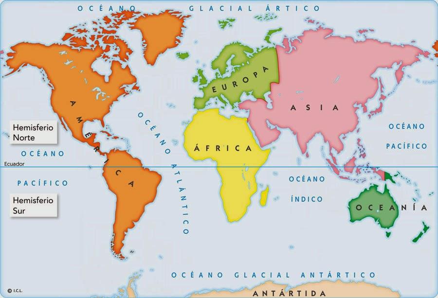 Cuales Son Los 6 Continentes Del Planisferio: Cienciassociales: Los Continentes Y Oceanos