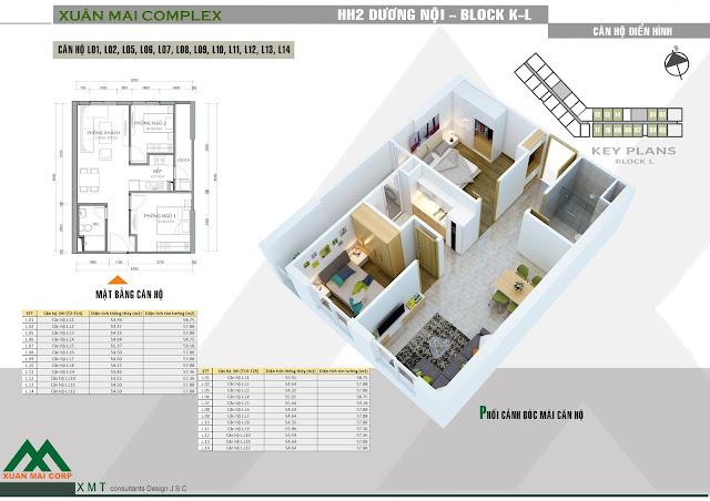 Thiết kế căn hộ 57m - Xuân Mai Complex