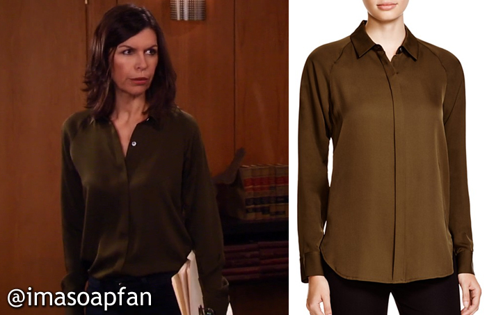 4fee1b2623bb8 Anna Devane s Brown Silk Shirt - General Hospital