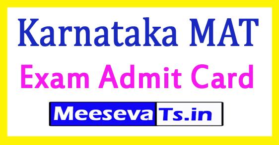 Karnataka MAT Entrance September Exam Admit Card 2018