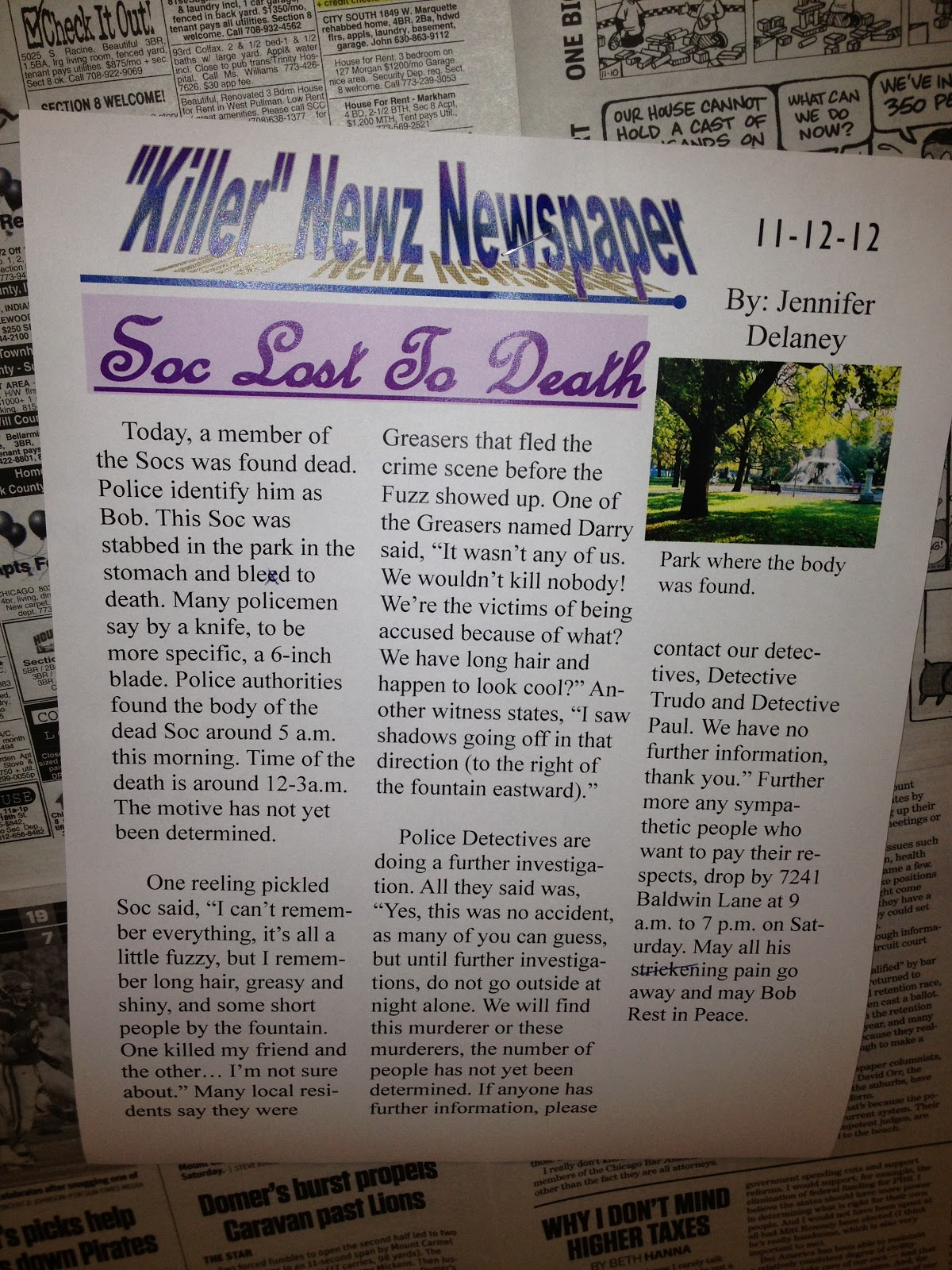 news article writing assignment for middle school