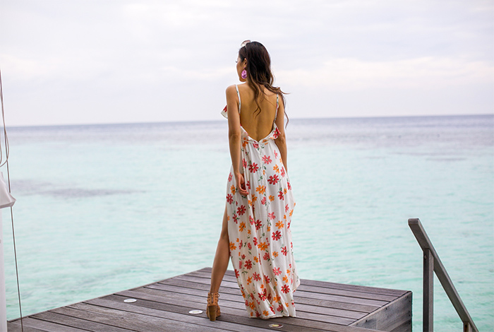 floral maxi dress, privacy please dress, chloe sunglasses, baublebar earrings, jeffrey campbell wedge sandals, maldives, travel outfit, maldives outfit, maldives dress