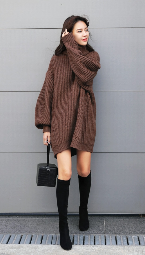 Loose Fit Turtleneck Knit Dress
