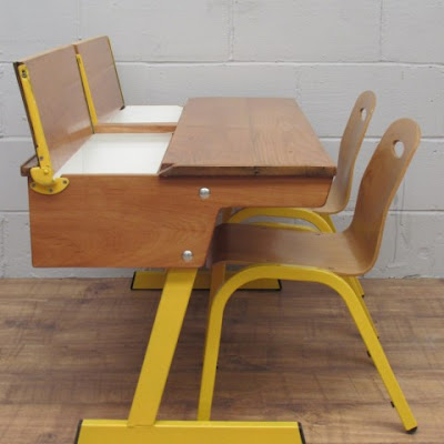 Double Retro School Desk