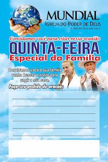 família,quinta-feira,impd,igreja,mundial,folhetos,apóstolo,valdemiro,santiago,bispa,francileia,oração