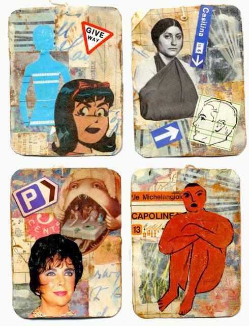 collage artist trading cards by C Mazzie-Ballheim
