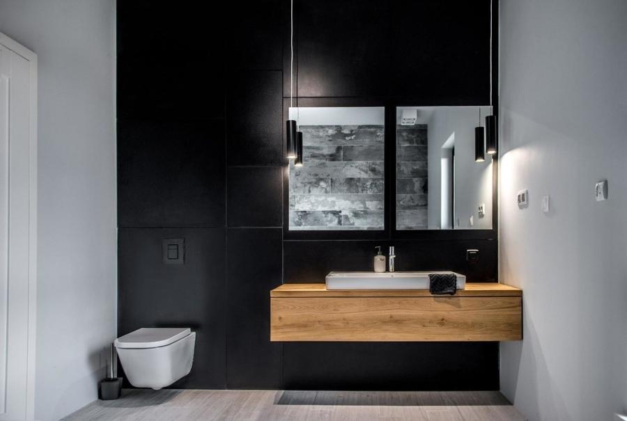 wystrój wnętrz, wnętrza, urządzanie mieszkania, dom, home decor, dekoracje, aranżacje, styl skandynawski, scandinavian style, szarości, szary, grey, czerwona cegła, otwarta przestrzeń, łazienka, bathroom