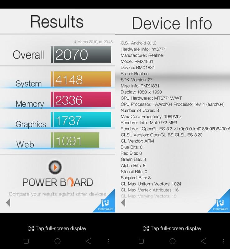 Benchmark Basemark OS II Realme U1