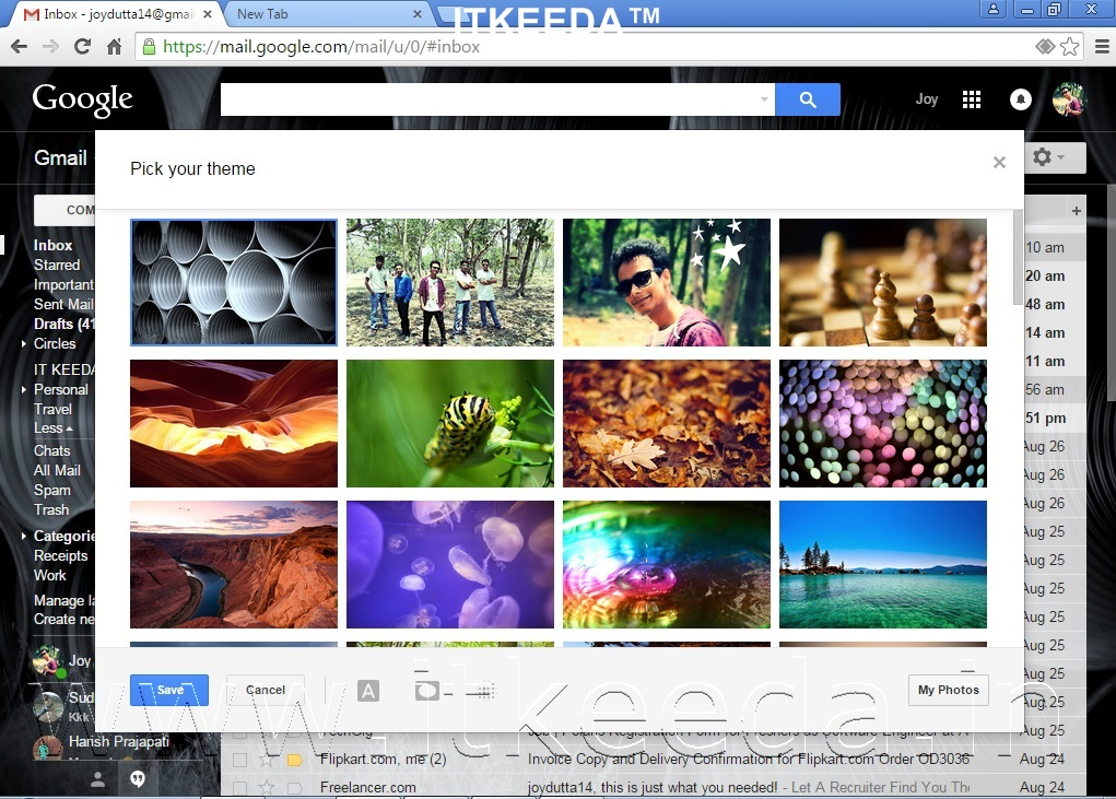 How to Change Background Of GMAIL with own photos 6