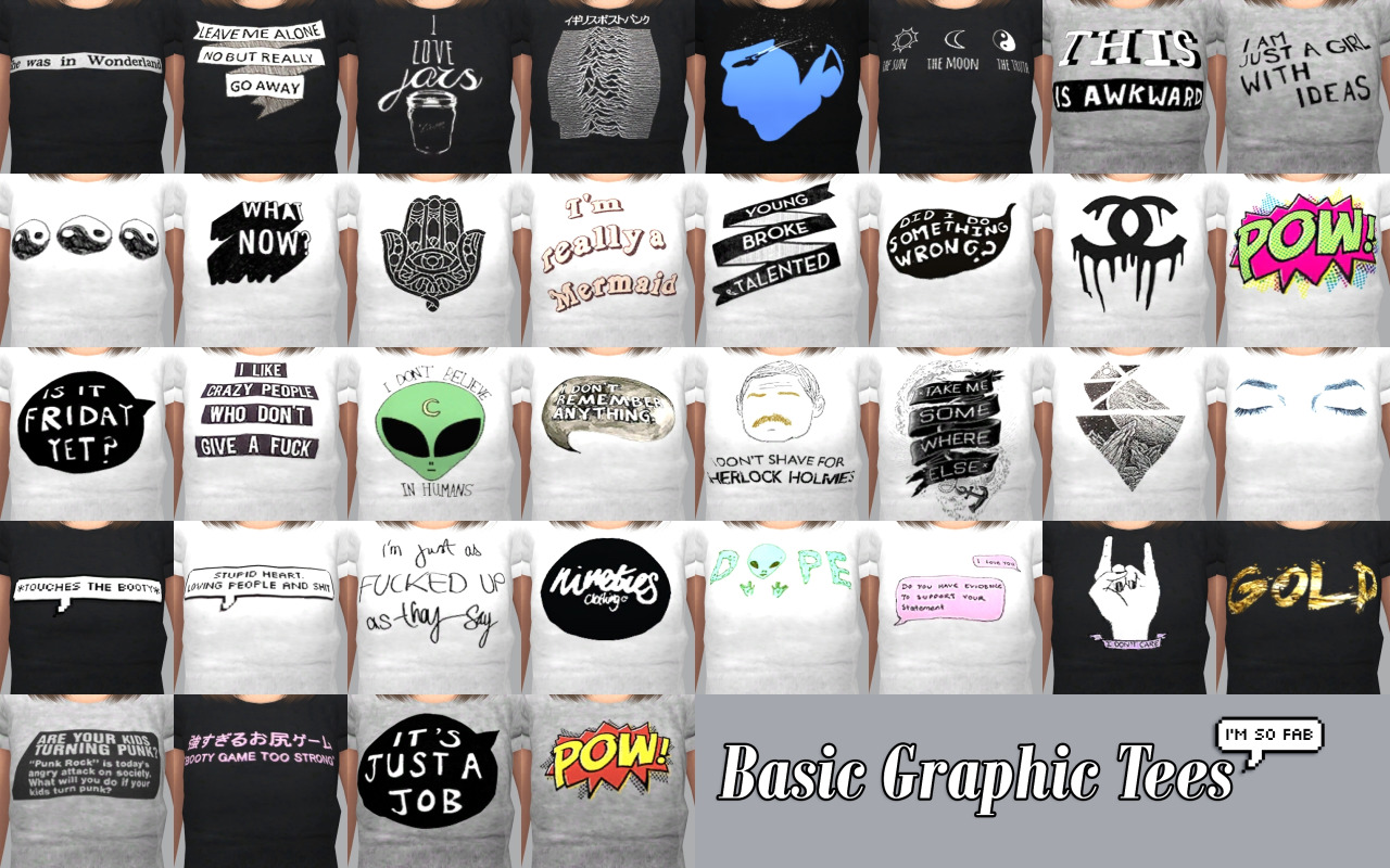 bf1e7520 Basic Graphic Tees in 36 Swatches by ViirinSims. ViirinSims. Labels: ...