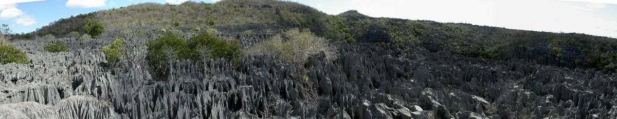 vue d'ensemble des tsingy au niveau du lac vert