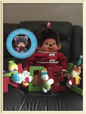 Wendy la Monchhichi géante 80 cm, Noël, sapin, sekiguchi, kiki, le kiki de tous les Kiki