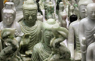 plenty of jade Buddhas available in different colors and sizes