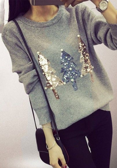 Grey Christmas Tree Print Sweater