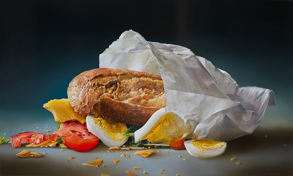 05-Healthy-Sandwich-in-a-Paper-Bag-Tjalf-Sparnaay-The-Beauty-of-the-Everyday-Paintings-of-Food-Art-www-designstack-co