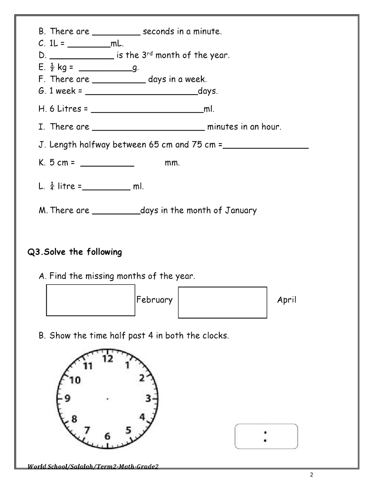 Birla World School Oman Revision Worksheets For Grade 2