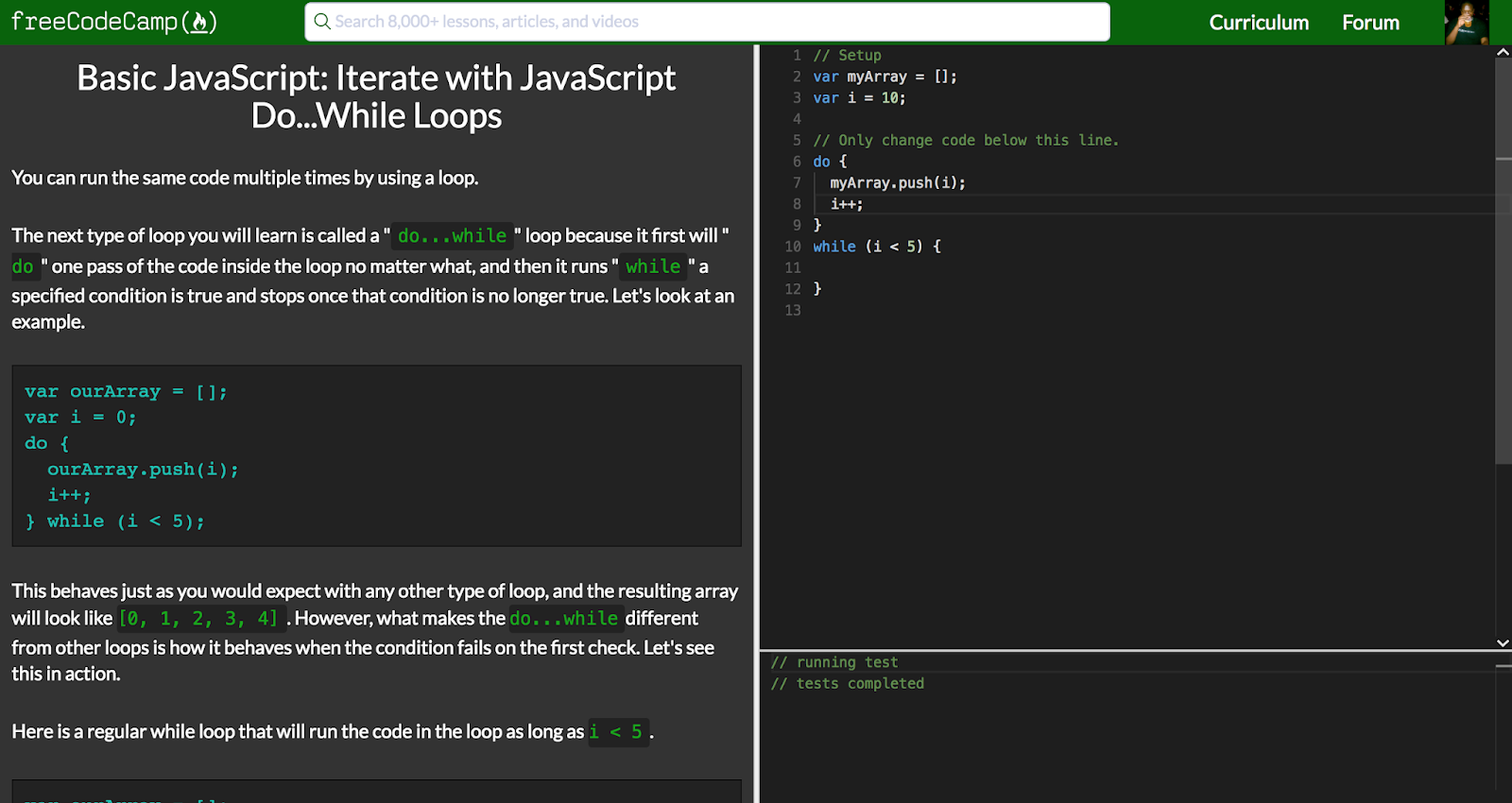 Just a Few Things.. Iterate with JavaScript Do...While Loops