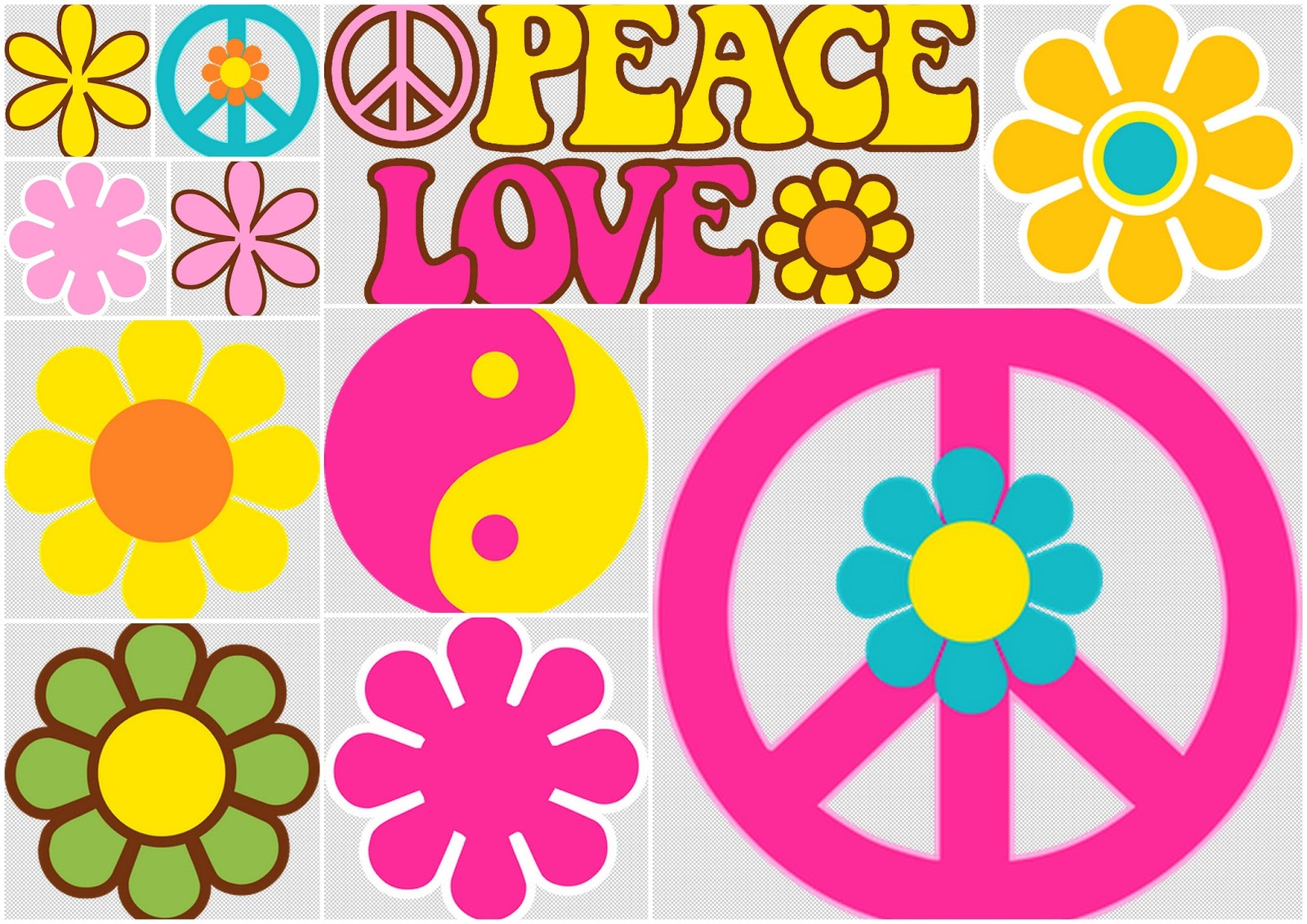 Flowers and Symbols of the Hippy Party Clip Art. | Oh My Fiesta ...