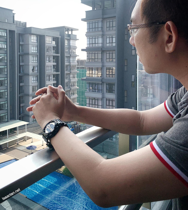 Contemplating life, with Casio G-Shock GD-100GB-1D strapped to the wrist