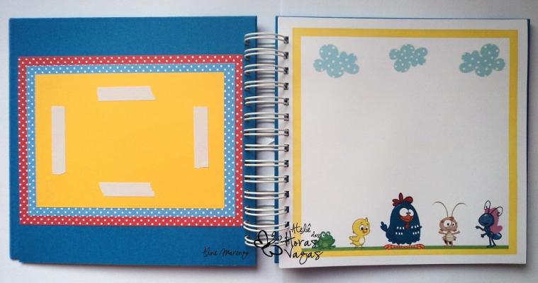 livro de mensagens álbum aniversário turma da galinha pintadinha menino scrapbooking scrapbook scrap