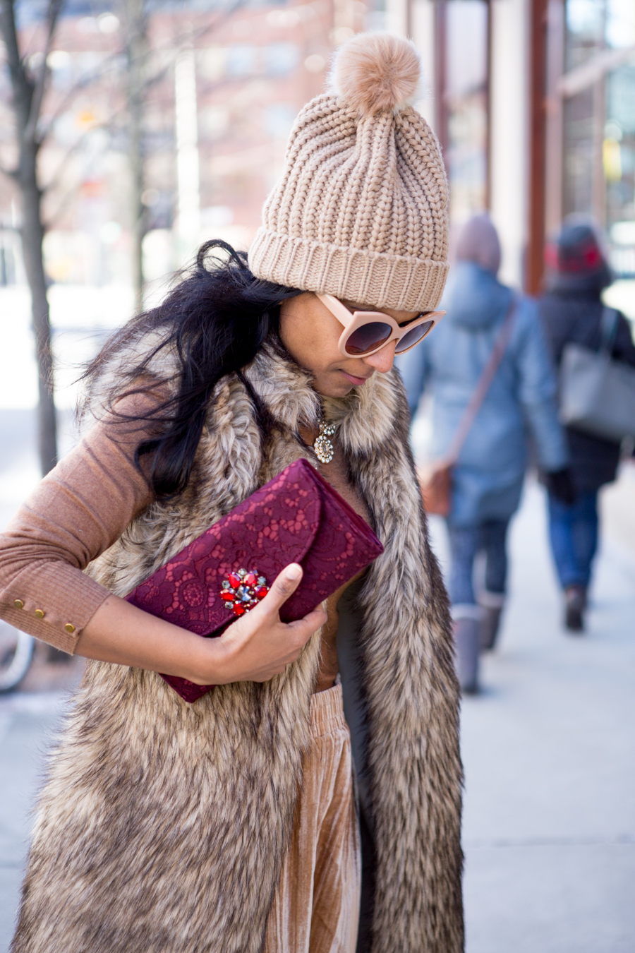 indian style, winter style, petite fashion, winter fashion, nordstrom, velvet, clutches, faux fur, midi skirt, camel, luxe fabric