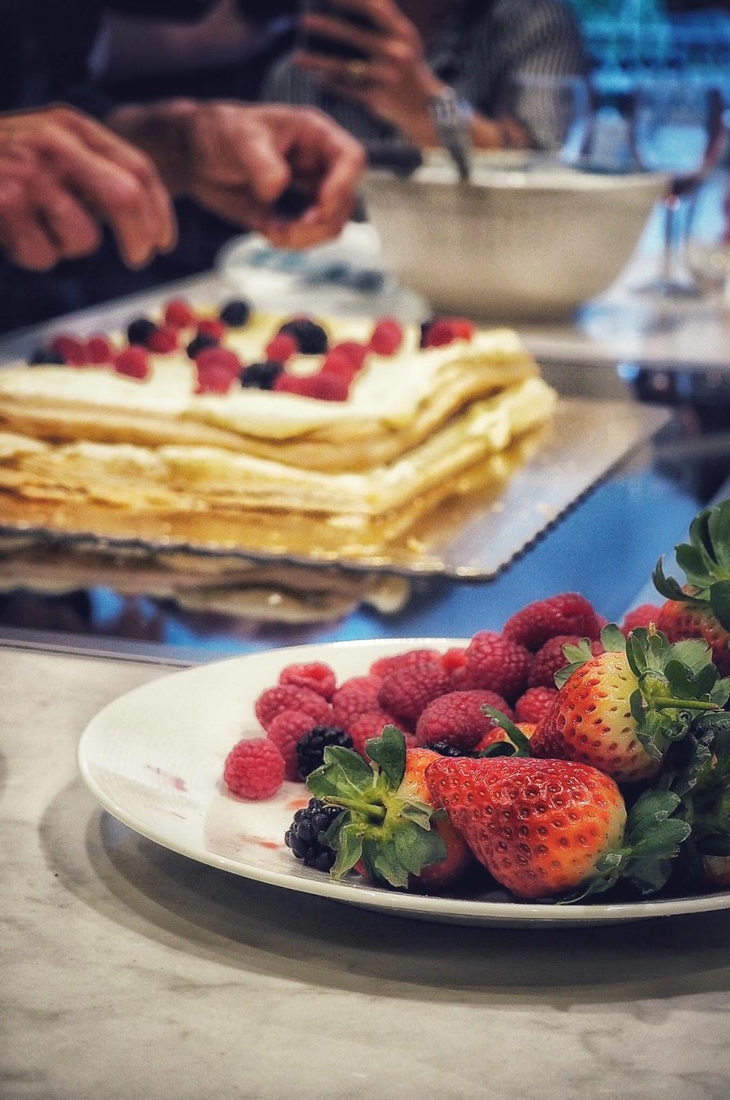 Fruit topped Italian wedding cake