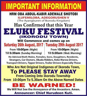'Eluku' festival: Non-indigenes barred from Ikorodu
