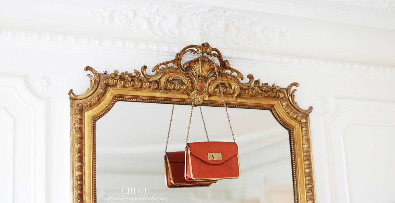 7029f88909 Sac CHLOE Sally en cuir rouge brique / CHLOE SALLY orange red leather  shoulder bag