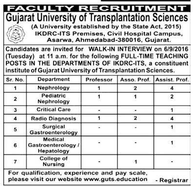GUTS Ahmedbad Recruitment 2016 for 22 Faculty Posts
