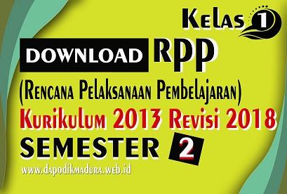 Download RPP Kelas 1 SD/MI K13 Revisi 2018 Semester 2 Lengkap