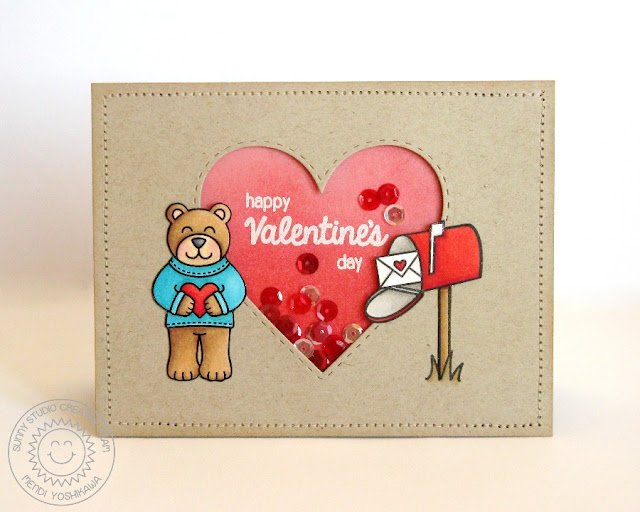 Sunny Studio Stamps Sending My Love Valentine's Day Teddy Bear Card