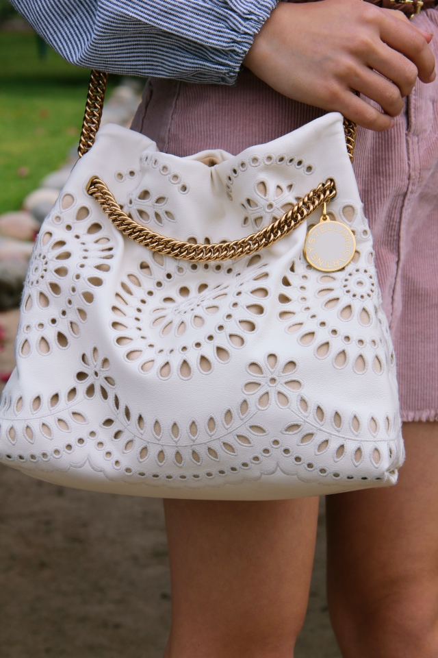 stella mccartney vegan ivory white eyelet noma bucket bag lace